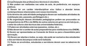 Explicações necessárias quanto aos critérios para as atividades pedagógicas de greve